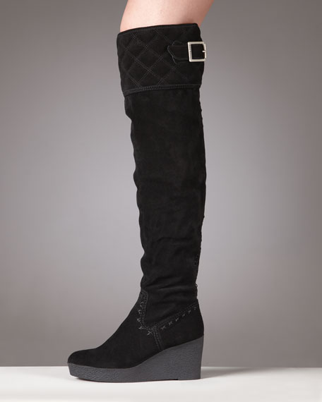 Juicy Couture Eldora Over-The-Knee Suede Wedge Heel Boot