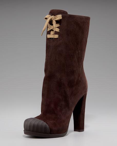 Fendi Suede Corduroy Boot