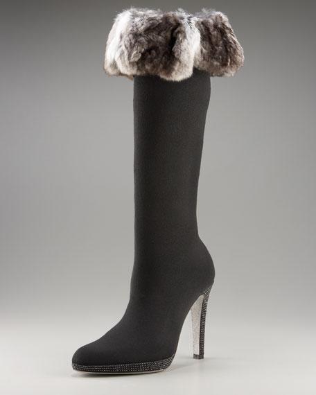 Fur-Trim Sock Boot