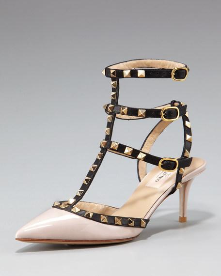 Studded Patent Kitten Heel