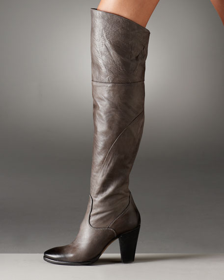 Mid-Heel Leather Over-the-Knee Boot