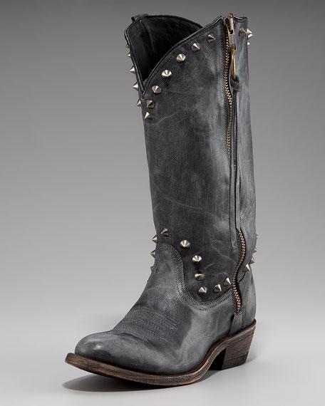 Studded Tassel-Zip Cowboy Boot