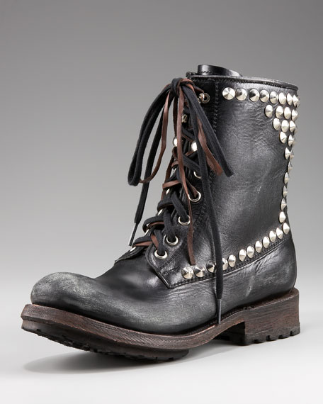 Studded Lace-Up Combat Boot