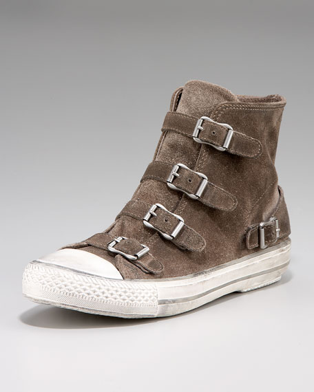 Distressed Suede Buckle Sneaker