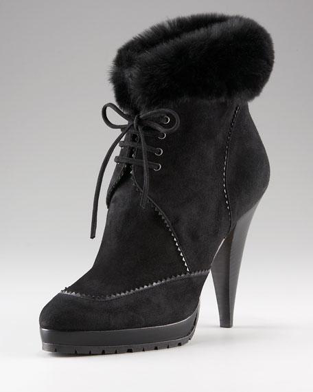 Fur-Trim Lace-Up Boot