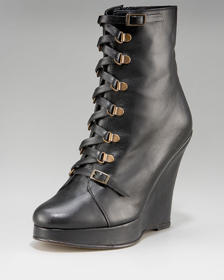 Ring-Laced Leather Wedge Bootie