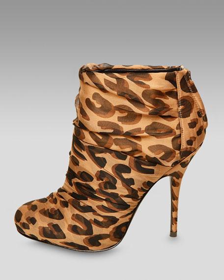 Chiffon Leopard-Print Bootie