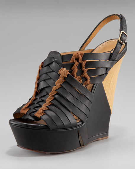 Lanvin Halter Sliced Wedge Sandal