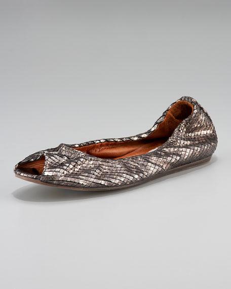 Metallic Python-Print Peep-Toe Ballerina