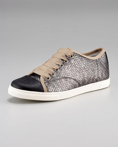Metallic Python-Print Sneaker