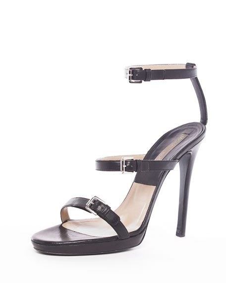 Triple-Buckle Sandal, Black