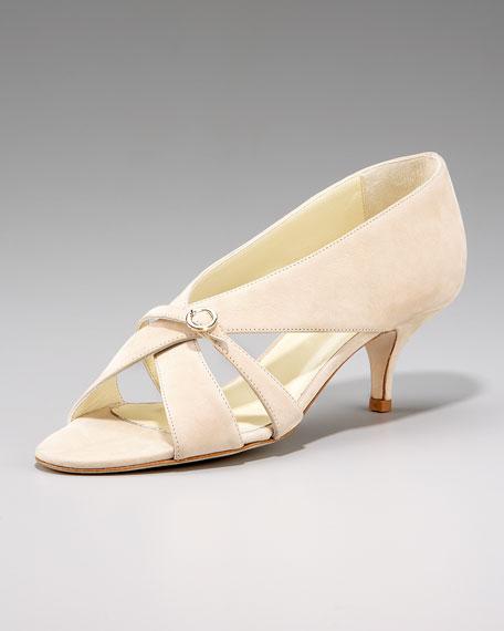 Suede Crisscross Kitten-Heel Sandal