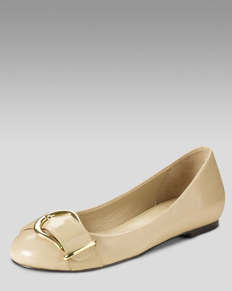 Air Olivia Tantivy-Buckle Ballet Flat, Nougat