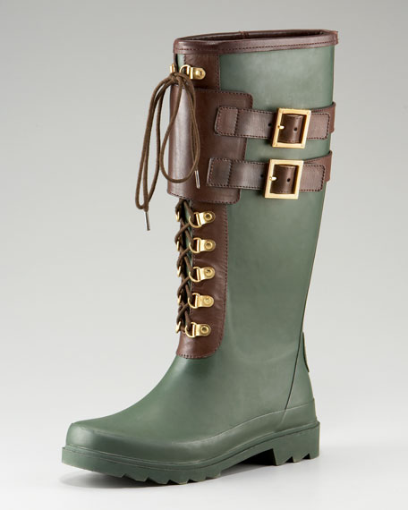 Tory Burch Two-Tone Lace-Up Rain Boot