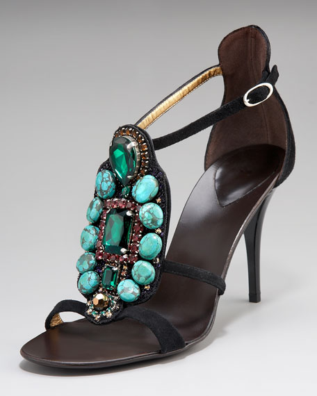 Turquoise T-Strap Sandal