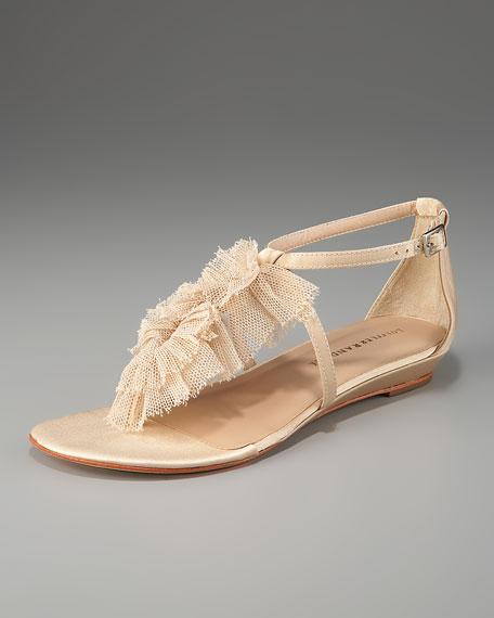 Mesh Ruffle Satin Thong Sandal
