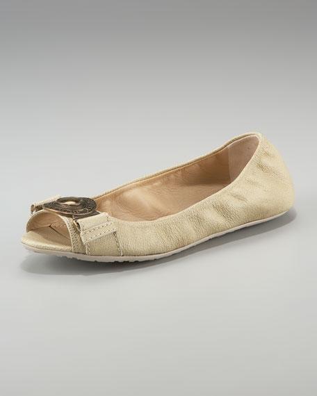 Grainy Leather Peep-Toe Ballerina Flat