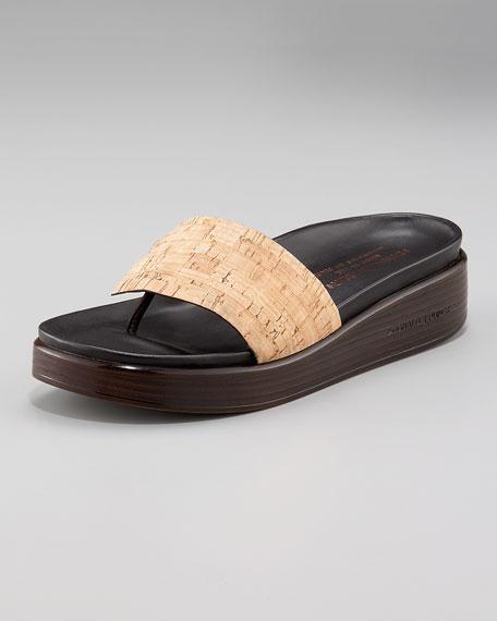 Washed-Cork Thong Sandal