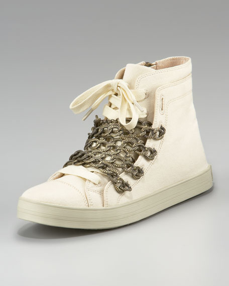 Canvas-Chain Lace-Up Sneaker