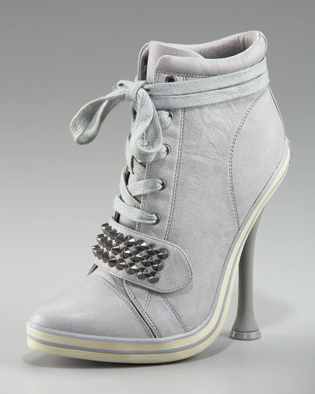 Studded Lace-Up Sneaker Bootie