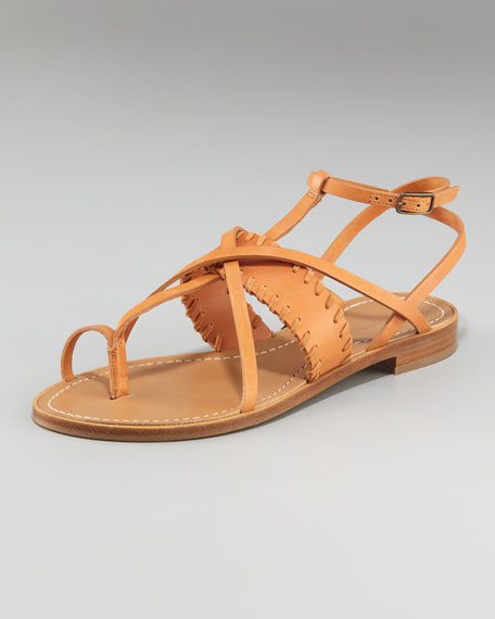 Strappy Flat Toe-Ring Sandal