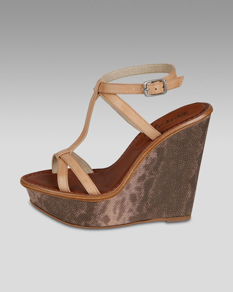 Embossed Leather Wedge