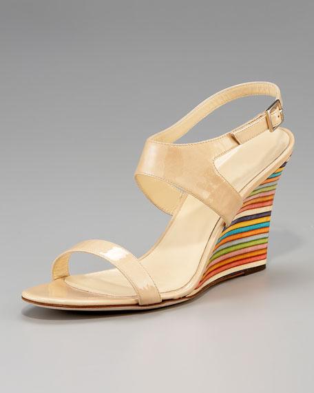 clume striped wedge sandal