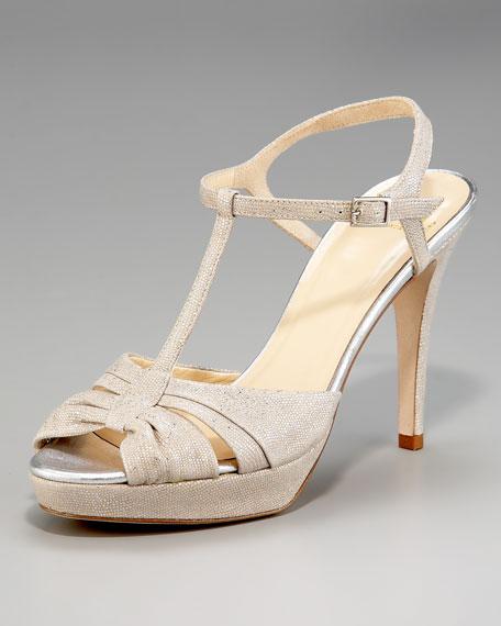 garb shiny snake-embossed sandal