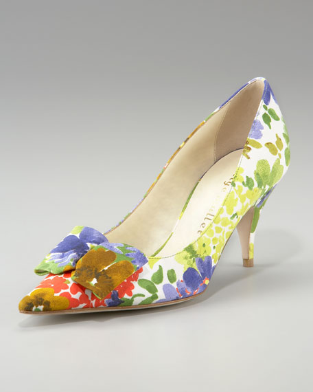 Pointed-Toe Floral-Print Silk Pump