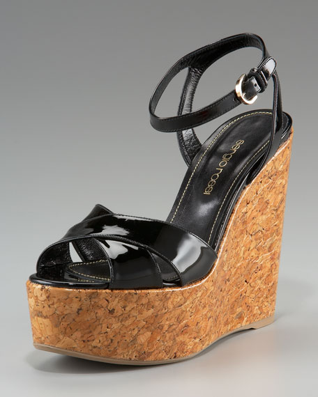 Patent-Leather Wedge Sandal