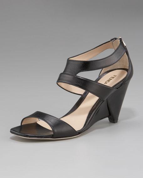 Ankle-Cutout Wedge Heel