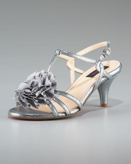 Flower Detail Mid-Heel Sandal