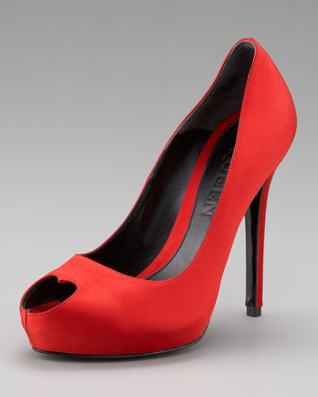 Satin Heart Shaped Pump