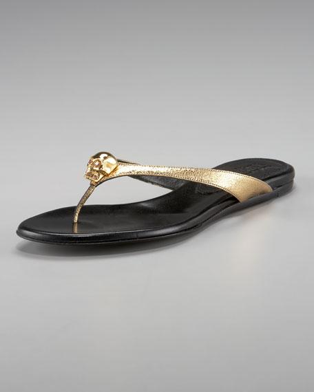 Skull Metallic Thong Sandal