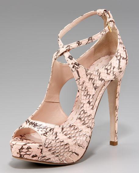 Miu Miu Crisscross Snakeskin Platform Sandal