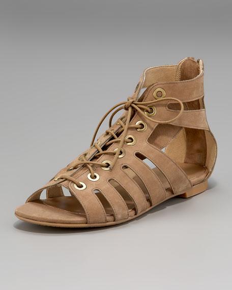 Lace-Up Cutout Flat Sandal