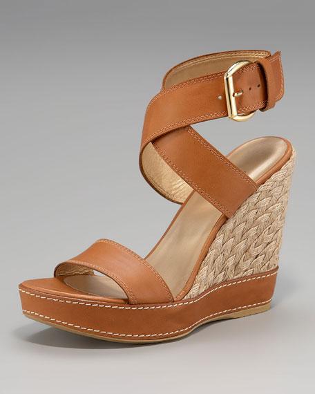 Stuart Weitzman Ankle-Wrap Espadrille Sandal