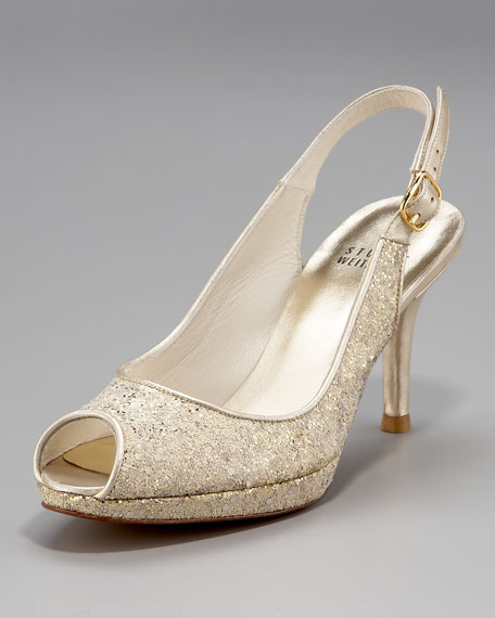Glitter Peep-Toe Slingback