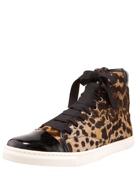 Leopard-Print High Top Sneaker