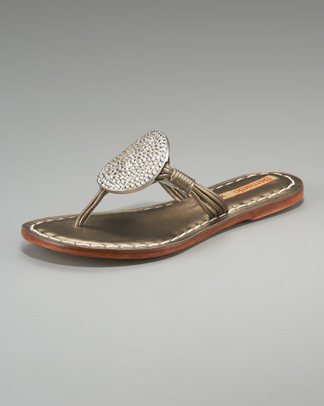 Must Crystal-Circle Thong Sandal, Pewter