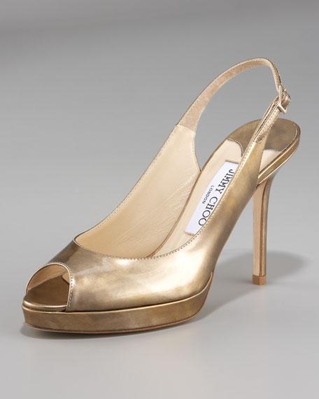 Brushed Metallic Peep-Toe Slingback, Gold