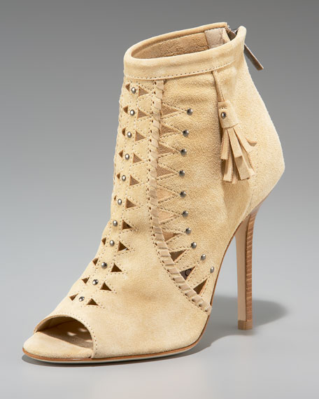 Suede Perforated Ankle Boot