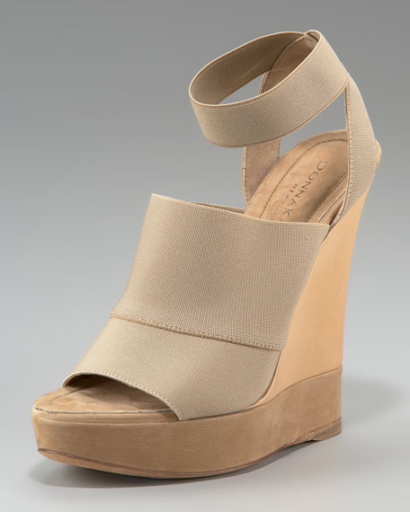 Donna Karan Ankle-Wrap Platform Wedge