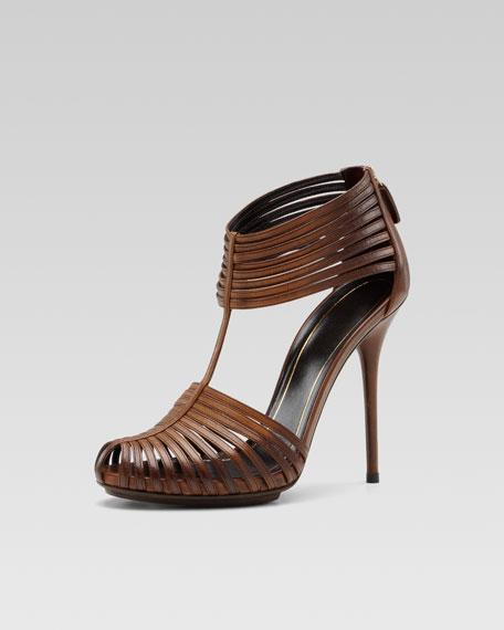 Gucci Inga T-Strap Sandal, Tobacco