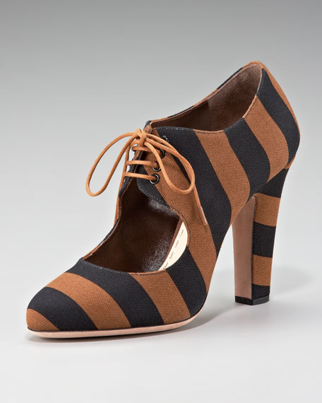 Striped Canvas Lace-Up