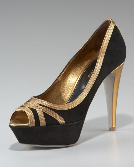 Suede Metallic-Trim Pump