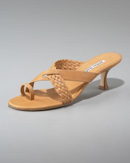 Braided Slide Sandal, Tan
