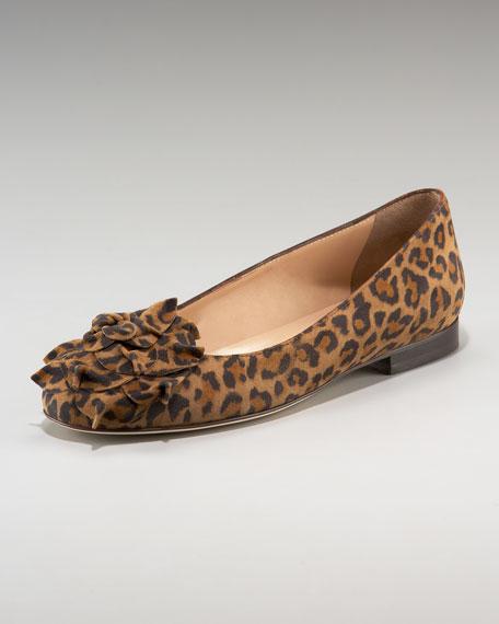 Gisella Leopard-Print Flower Ballerina Flat