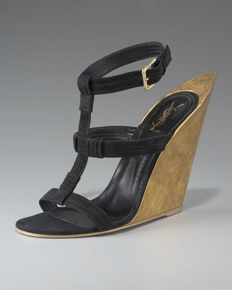 Yves Saint Laurent T-Strap Wedge Sandal