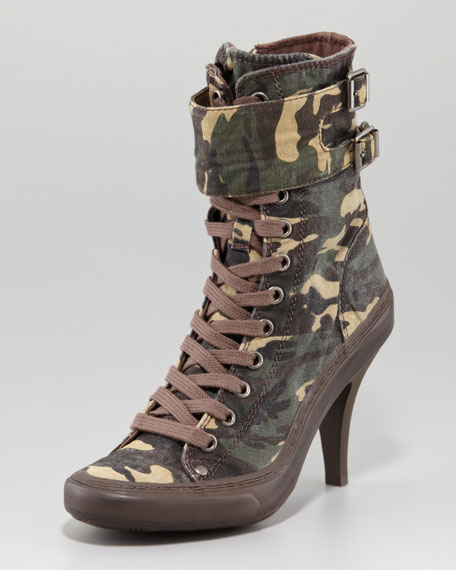 Lace-Up Camo-Print Boot